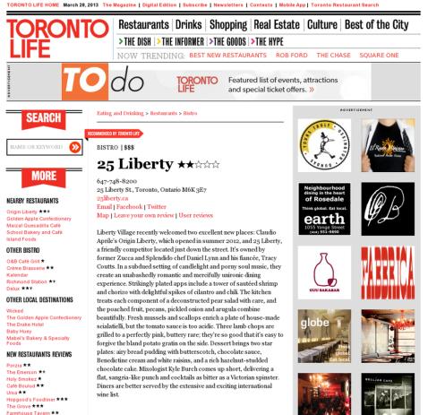 Screenshot of a standard restaurant listing.