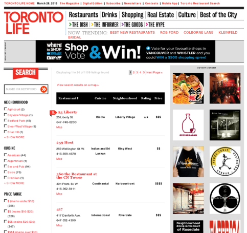 Torontolife.com restaurant search page screenshot.