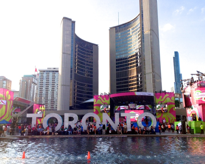 Toronto sign at Nathan Phillips Square during the Pan Am Games 2015.